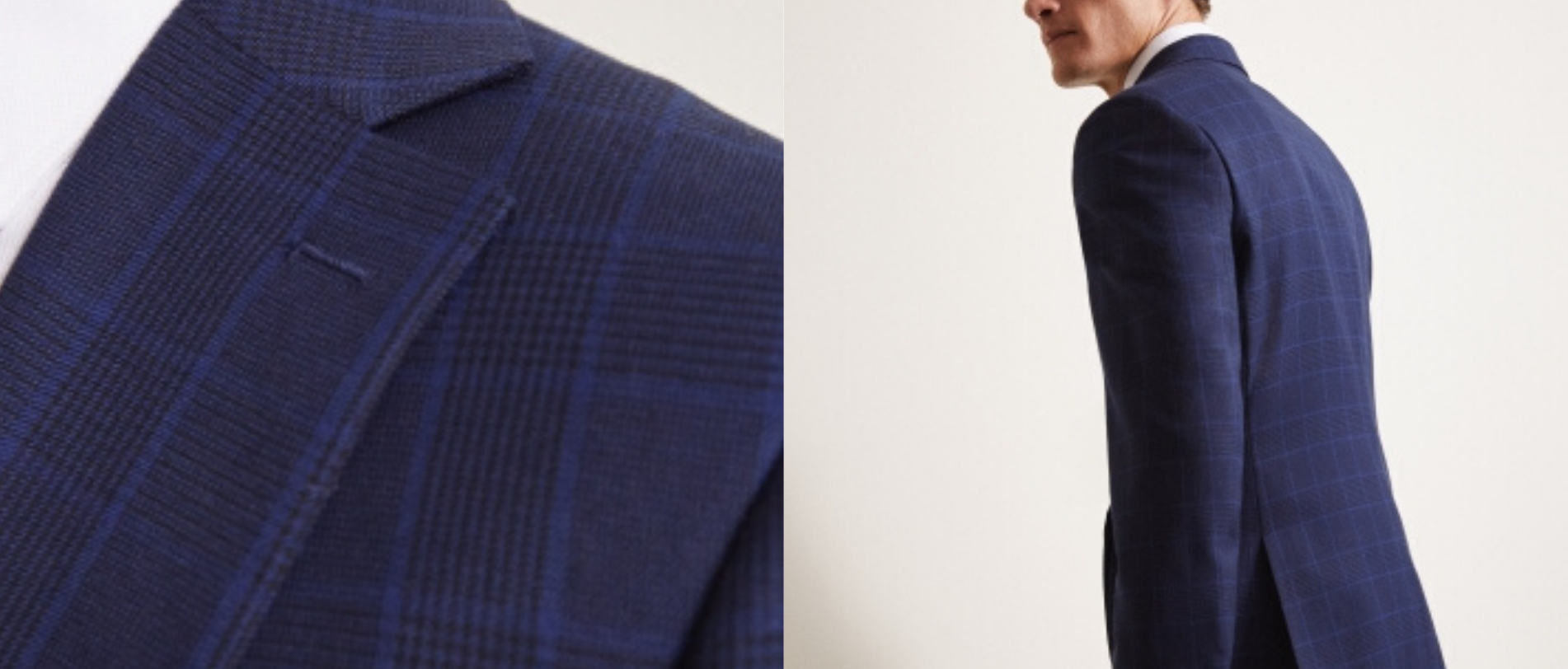 Moss Bros - The Moss London Slim Fit eco Blue Check Suit