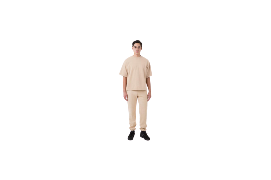 Garment Dye Heavy Fleece Sweatpant in beige.