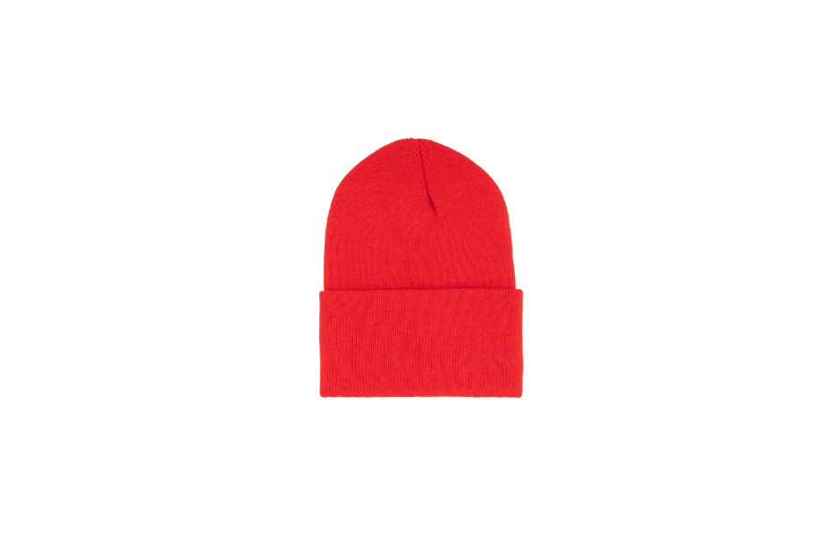 Classic cuff beanie in the color red.