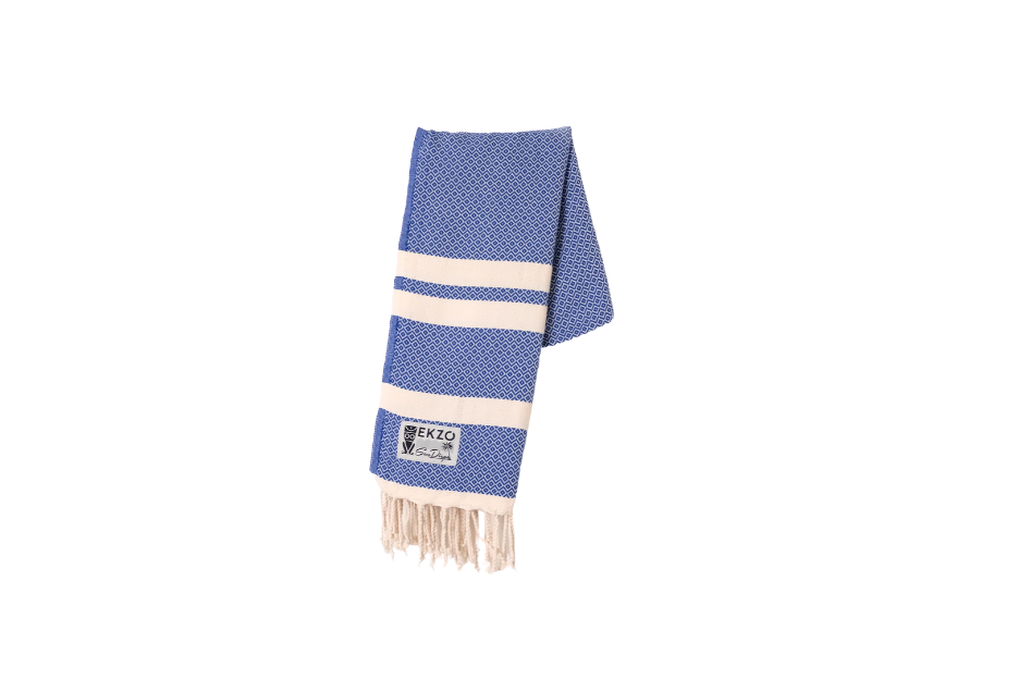 Blue Towel with tassels hanging.