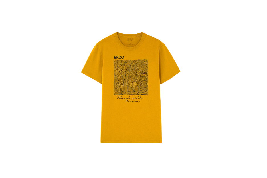 Mustard colored tee with print design in middle.