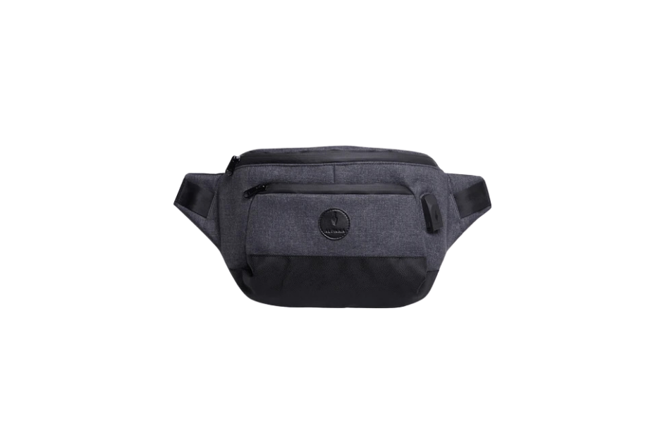 sling bag in gray.