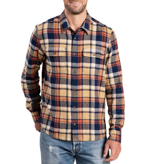 Man in orange, blue, and yellow flannel shirt