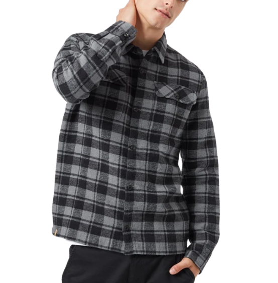 Man in black and gray flannel shirt